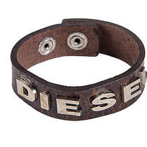 Diesel Men's Leather Bracelet Men Bracelet Albin Bracelet Logo - Dark Brown Photo