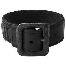 Diesel Men's Leather Buckle Bracelet Cuff Hand Belt Dx0576040 Black Bnwt  Photo