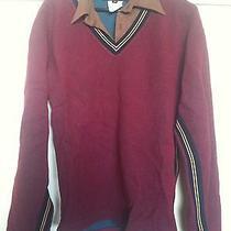 Diesel Men's Sweater M Red v-Neck Collar Rare Unique Le Knit Plus Chic Photo