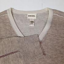 Diesel Men Sweater Vneck Size Large 80% Wool 20% Nylon Mixed Cream Color Photo
