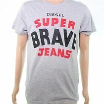 Diesel Mens Graphic Tee T-Shirt Gray Size Xl 'Super Brave Jeans' Print 48 058 Photo