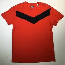 Diesel Mens Shirt Large Short Sleeve Red Black Stripe New Photo