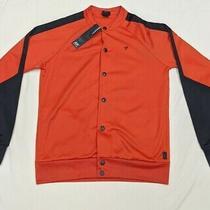 Diesel Mens Snap Button Jacket Size Large Orange Black New Nwt Photo