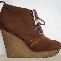 Diesel New Enos Wedges Brown Leather Suede Booties Nib 350 Womens Heels Shoes 7 Photo