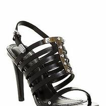Diesel Nib Aila Heel Caged Sandal Strappy Leather Metal Black Pump 10/41 245 Photo