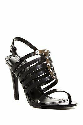 DIESEL NIB Aila Heel Caged Sandal Strappy Leather Metal Black Pump 10/41 $245 Photo