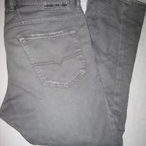Diesel Pavast Men's Gray Jeans Button Fly Actual 34x26 Tag 30 Lightening Bolt  Photo