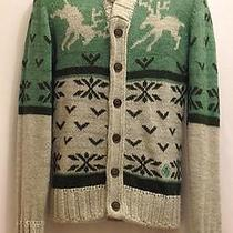 Diesel Reindeer Green Gray Alpaca Wool Acrylic Medium Cardigan Sweater Photo