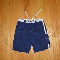 Diesel Reversible Swim Shorts Size M Blue White Men's Trunks Board Vega Photo