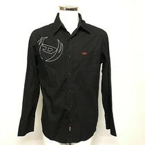 Diesel Shirt Mens Size Xl Black Cotton Long Sleeve Smart Casual 471838 Photo