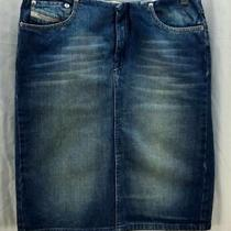 Diesel Skirt Size 27 Blue Denim Faded Straight Knee Length Cotton 1255 Photo