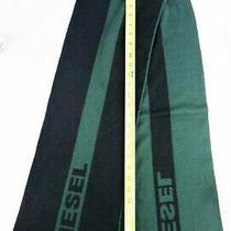 Diesel Spellout Neck Scarf Green Black 78 Logo Vegan Acrylic Knit Men Women  Photo