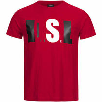 Diesel T Joe Qb Mens Crew Neck T-Shirt Short Sleeve Casual Summer Tee Red Tops Photo