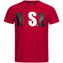 Diesel T Joe Qb Mens Short Sleeve T-Shirt Crew Neck Casual Red Tops Summer Tee Photo