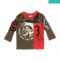 Diesel T-Shirt Top Size 6m Mohawk Print Camouflage Patched Crew Neck Photo