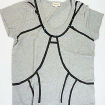 Diesel T-Shirt Top Size Xl Uk 14 - 16 Grey Top With Black Sequin Detailing Nwot Photo