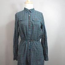 Diesel Womens Cute Gray & Blue Plaid Button Up Cinched Waist Shirt Dress Sz Xs Photo