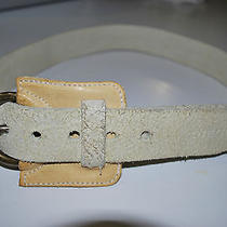 Diesel Womens Ivory Made in Italy Distressed Genuine Leather Belt Size 30 Photo