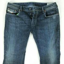 Diesel Zathan Regular Fit Boot Cutc Distressed Dark Denim Jeans Sz 36 X 30 Italy Photo