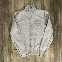 Diesel Zip Up Sweater Gray Knit Tiger Logo Zippered Large Photo