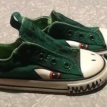 Dinosaur Dragon Converse All Stars Dark Green Eyes Teeth Slip Ons Boy Girl 8 Photo