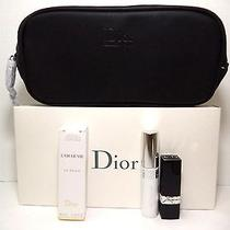 Dior 4 Pcs Gift Set (Bag Base Mascara Lipstick Anti-Age Cream) New in Box  Photo