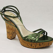 Dior Authentic Green Platform Shiny Lacquered Cork Sandal Heels Sz 37.5 (7 Us) Photo