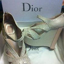 Dior Bonnie Stamped Croc Wedge Sandals Perfect Wedding Shoe Photo