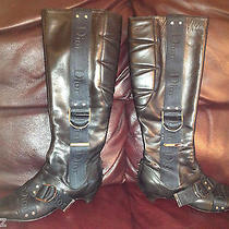 Dior Boots-Black Tall Leathersilver Plated Logo-Runway Uniquevery Rare-387.5 Photo