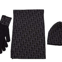 Dior Men's Wool Beanie Hat With Scarf Gloves New Black  Eee Photo