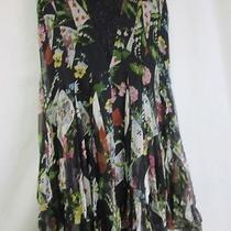 Dior Size 4 Silk-Lined Silk Skirt / Black & Other Colors / Cards Flowers Euc Photo