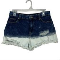 Dip-Dyed High Rise Distressed Hem Jean Shorts Blue White Size 30 Photo