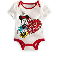Disney Authentic Minnie Mouse Xoxo Heart Baby Outfit Size 0-3 Months Gift New Photo