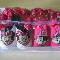 Disney Baby Minnie Mouse Infant Baby Girl Fancy Bootie Socks Shoes 2 Pairs Nib Photo