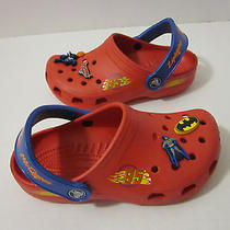 Disney Cars Lightning Mcqueen Crocs Size 1 Red W/ Marvel Super Heros Pins Cute Photo
