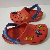 Disney Cars Lightning Mcqueen Crocs Size 1 Red W/ Marvel Super Heros Pins Cute Photo