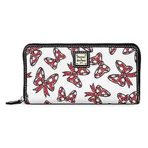 Disney Dooney & Bourke Minnie Mouse Bow Zipper Wallet Ltd Rare-White W/ Red Bows Photo