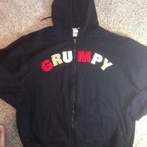 Disney Embroidered Grumpy Black Stitched Zippered Hoodie 2xl Ked Photo