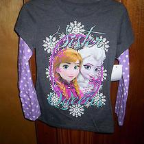 Disney Frozen Elsa / Anna Sister Queens T-Shirt Long Sleeve Xs (4-5) Photo