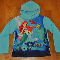 Disney Girls Fleece Hoodie the Little Mermaid Ariel Aqua Large 10-12 Euc Cute Photo