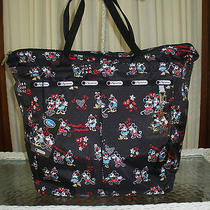 Disney Lesportsac Mickey & Minnie Tote Bag Overnight Shoulder With Cosmetic Nwt  Photo