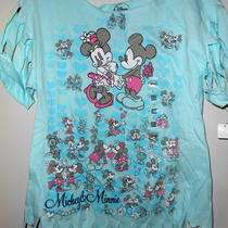 Disney Mickey & Minnie Mouse Junior Medium Aqua Fringed Tshirt Photo