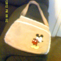 Disney Mickey Mouse Beige Crossbody Purse Suede  With