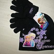 Disney's Frozen Elsa & Anna Black Hat & Gloves Acrylic One Size by Berkshire Photo