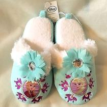 Disney's Frozen Sisters Anna & Elsa Bedroom Slippers Girls Size 11/12 Nwt Photo