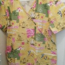 Disney the Lady and the Tramp Medical Scrubs Dogs Top Womens Size L Yellow  Photo