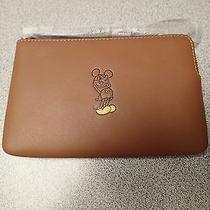 Disney X Coach Corner Zip Wristletnwt Saddle (Brown) Mickey Mouse F59528 Photo