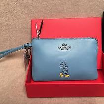 Disney X Coach Mickey Mouse Blue Leather Corner Zip Wristlet Nwt Small Clutch Photo