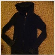 Distressed Black Thermal Hoodie Black Size Large Photo
