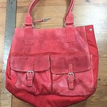 Distressed - Fossil Red Leather Crossbody Shoulder Bag Purse Handbag Tote Photo